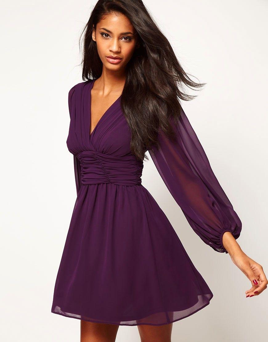 Purple Long Sleeve Cocktail Dress