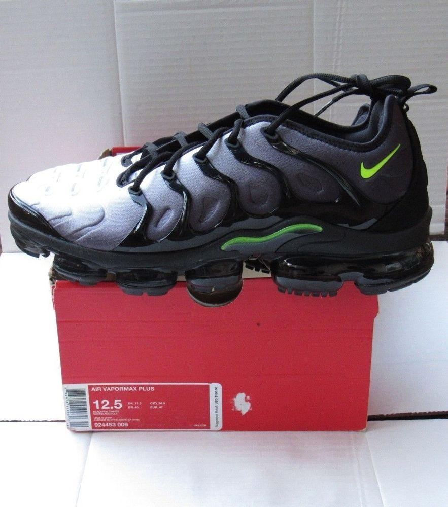 bff47f4d8f5 New Nike Air Vapormax Plus Black Volt-White Running Shoes (924453 ...