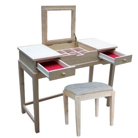 Hardwood Deluxe Vanity Desk 40 Finished Options Vanity