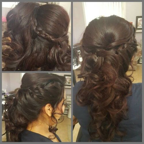 Open Cascading Hairstyle For Curly Hair With Side Braid Open Hairstyles Curly Hair Styles Hair Styles
