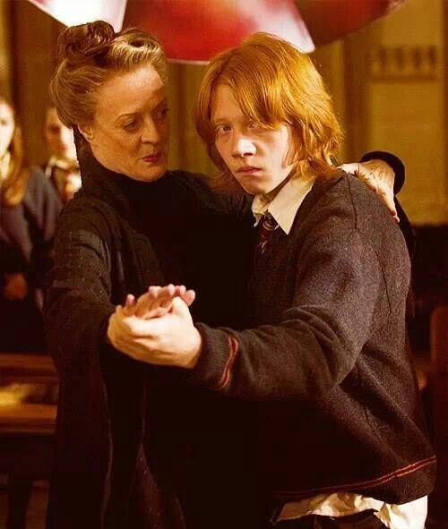Harry Potter Goblet Of Fire Mcgonagall Teaching Ron To Dance One Two Three One Two Three Harry You Re Harry Potter Goblet Harry Potter Potterhead