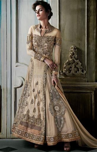 7774f8053 Indian Wedding Dress in Cream Color Made From Premium Silk and Net Visit:  http: