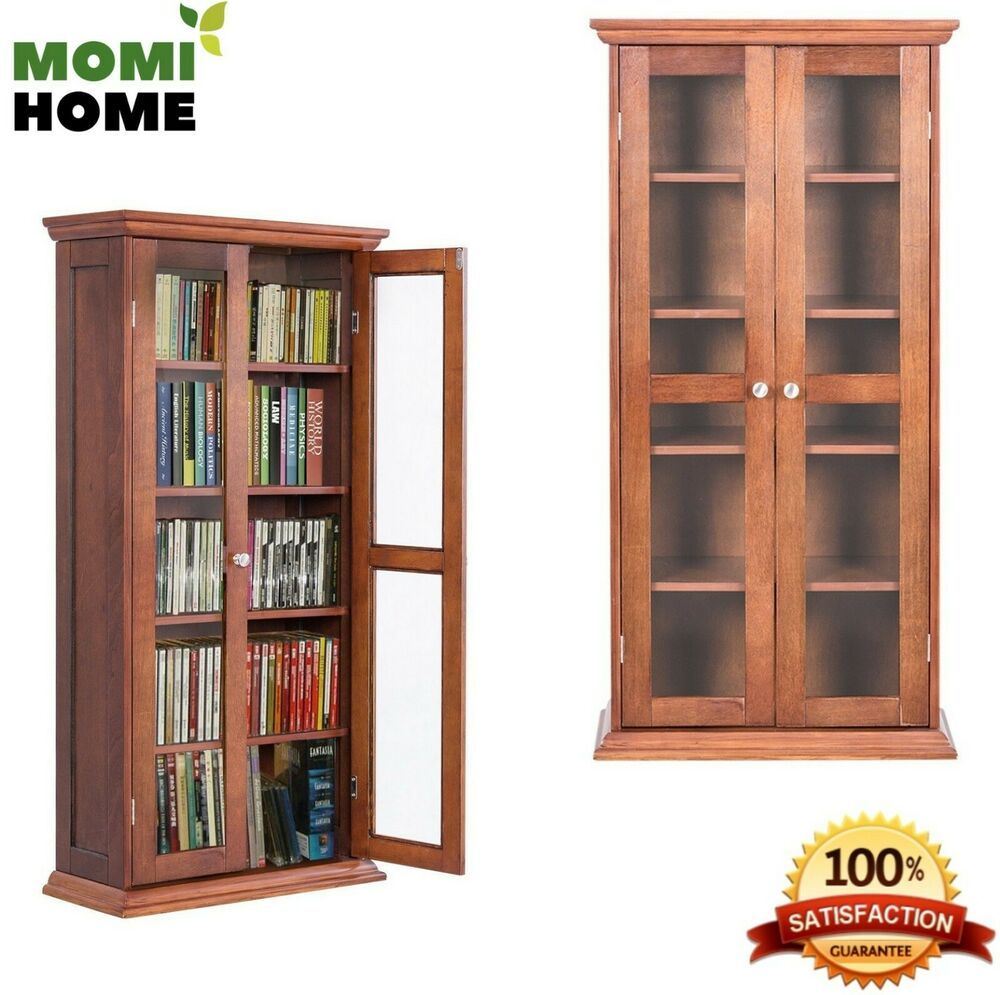 Tall Wood Storage Cabinet With Doors 5 Layers Holds Over 100 Dvds Cds Book Unbranded Wood Storage Cabinets Storage Cabinet Cabinet Doors