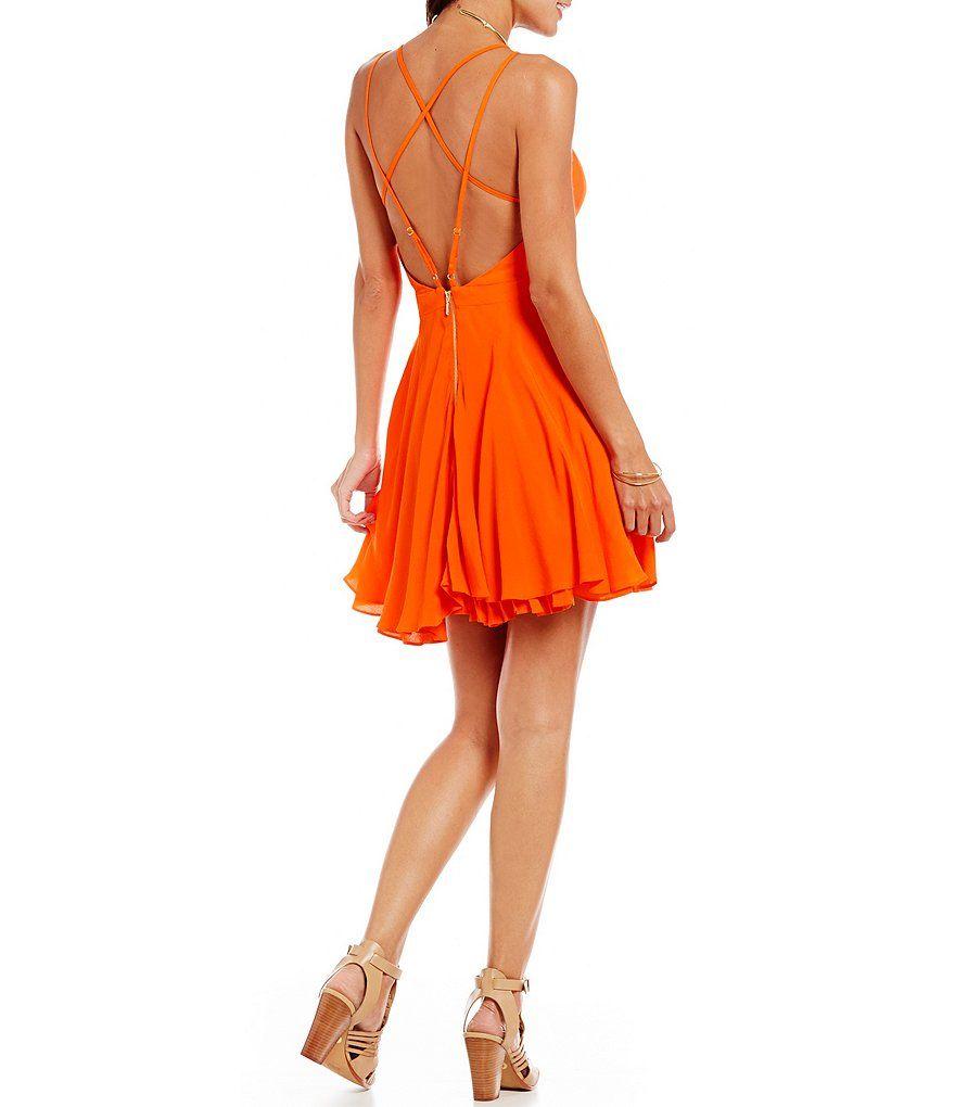 Copper Key Criss-Cross Back Skater Dress