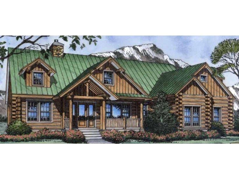Hwepl11777 three bedroom 2 5 bathroom log cabin ranch for Ranch style log homes