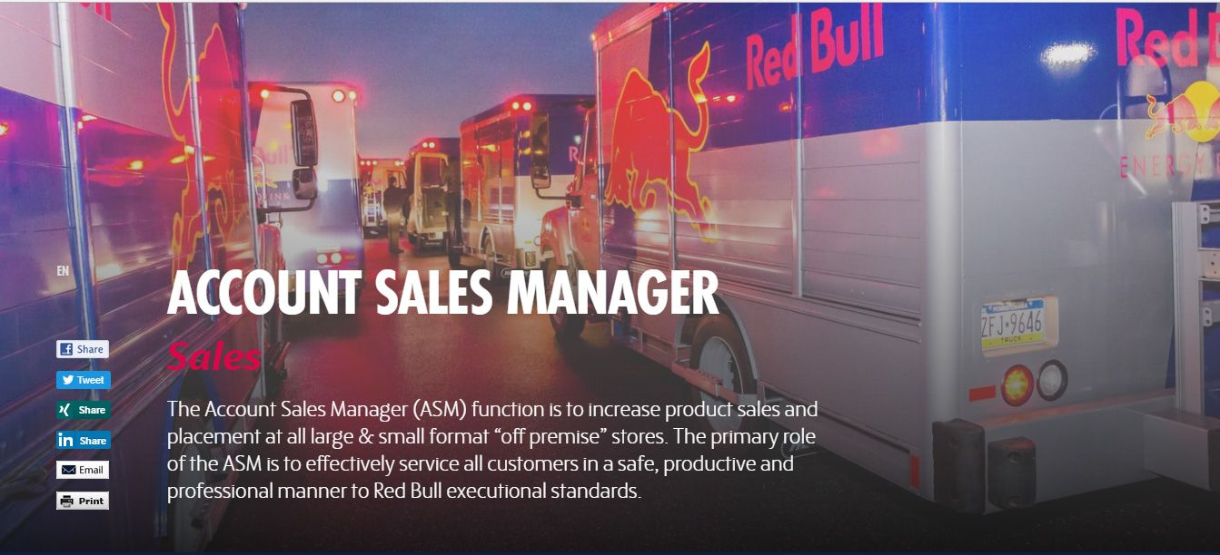 Red Bull - Position: Account Sales Manager - (Redwood City