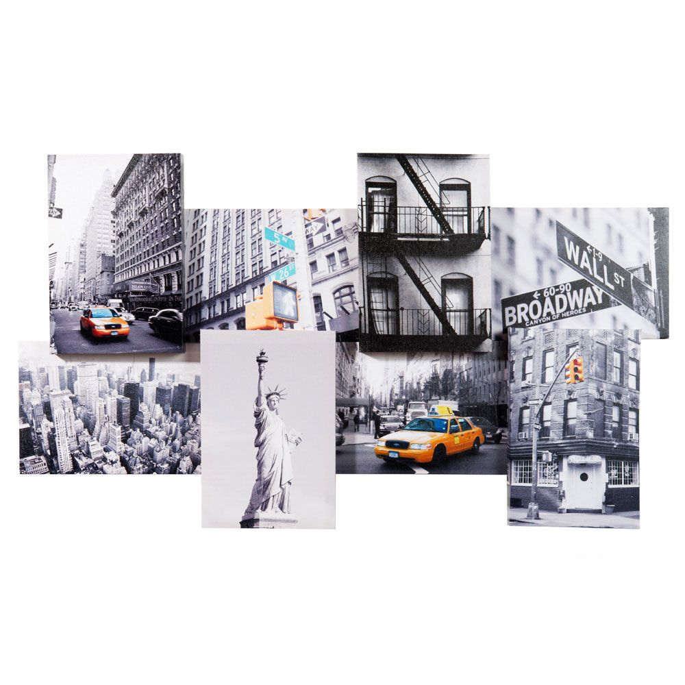 Ce tableau déco vous offre 8 belles vues de la ville de New York. Disposées