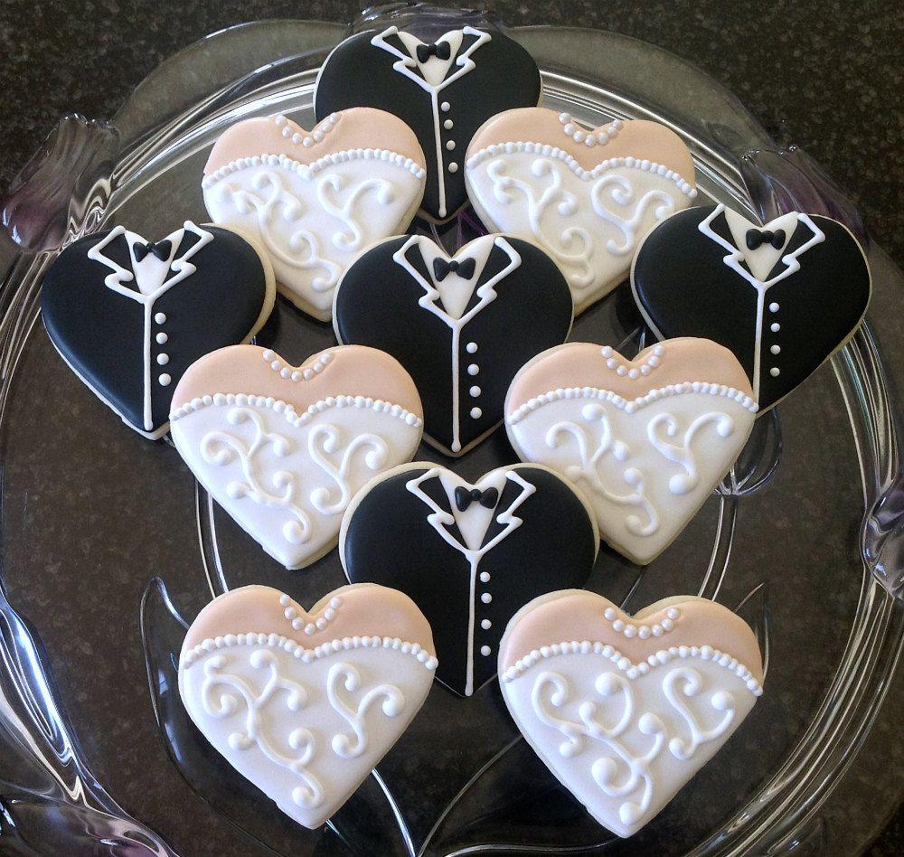 Hand Decorated Wedding Dress and Tuxedo Heart Sugar