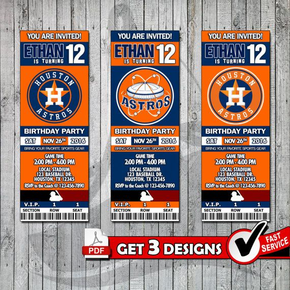 Baseball Houston Astros Printable Invitation Tickets by PDFBay - invitation ticket template