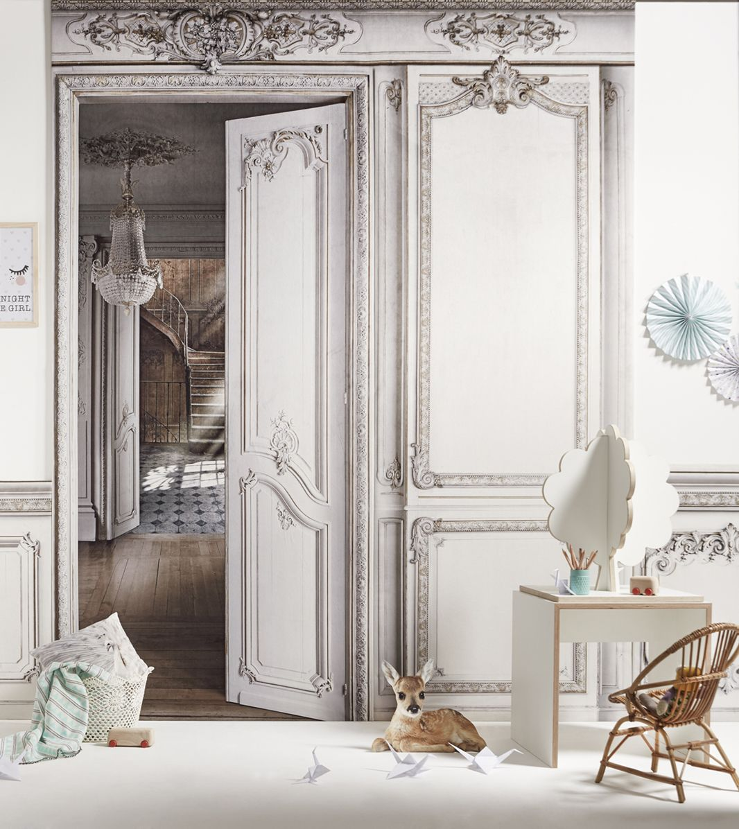 corridor - haussmann-style paneling trompe l'oeil wallpaper
