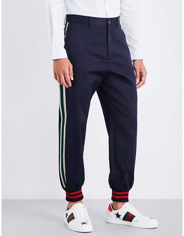 dcb3222db7d Gucci Velvet-striped tapered cotton-twill trousers