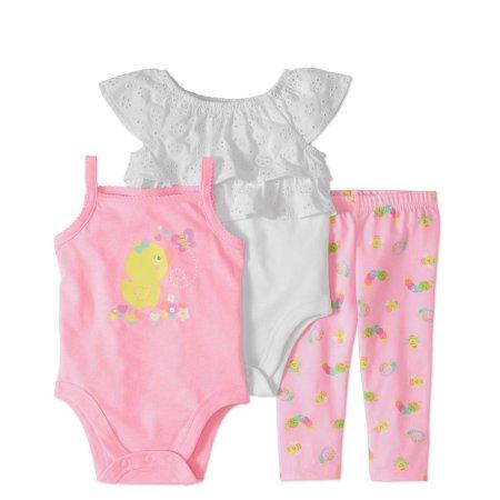 6d4f51e782fad Garanimals Baby Girl Eyelet Bodysuit, Tank Top & Leggings, 3pc Set, Size:  24M, White