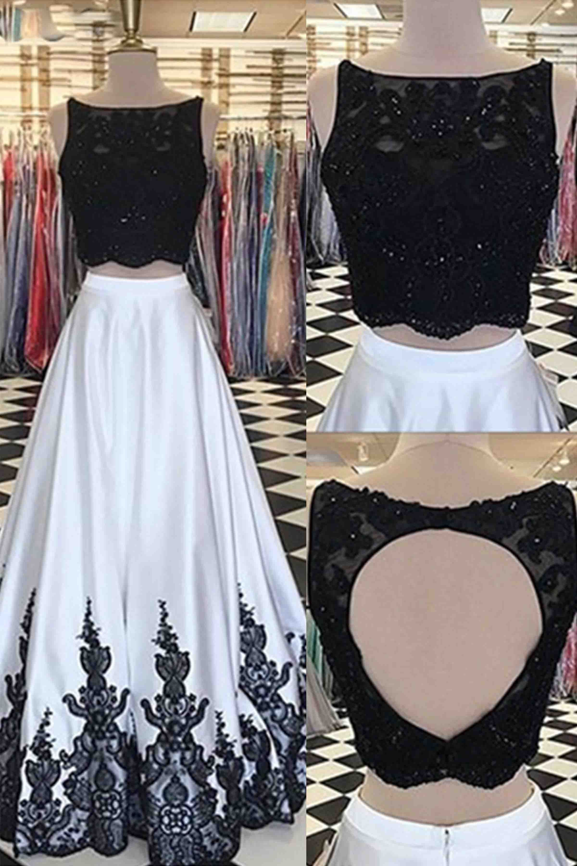 White satins two pieces lace aline long dress prom dress from
