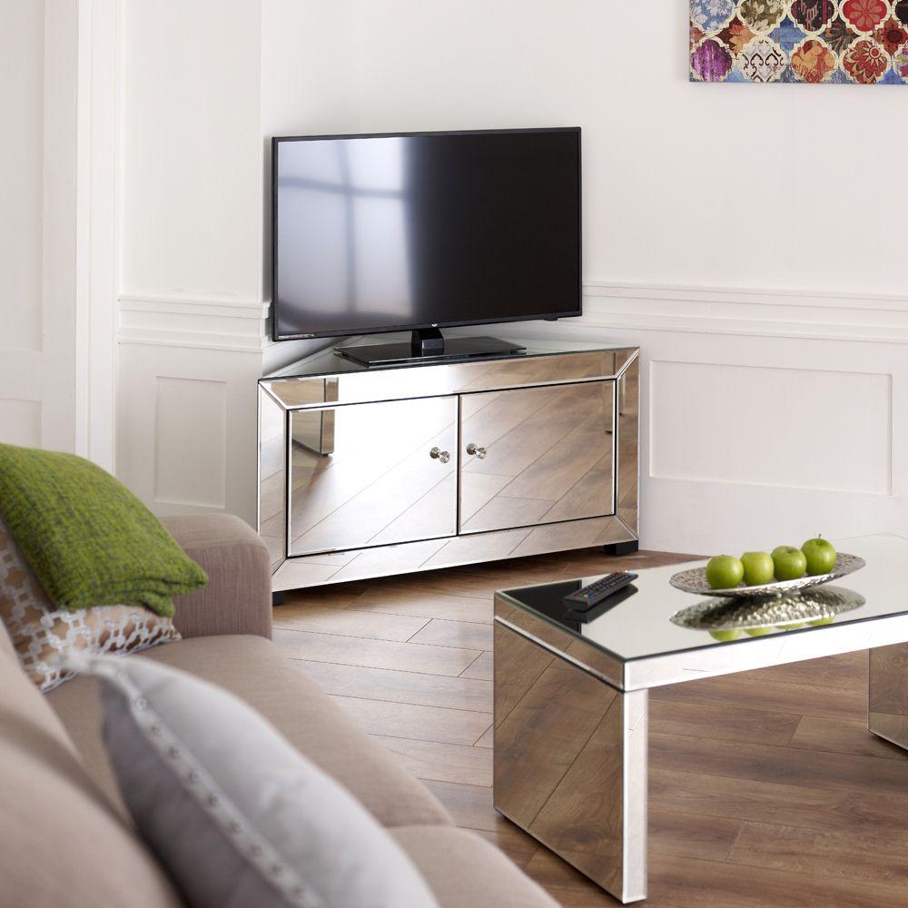 Venetian Mirrored Corner TV Cabinet