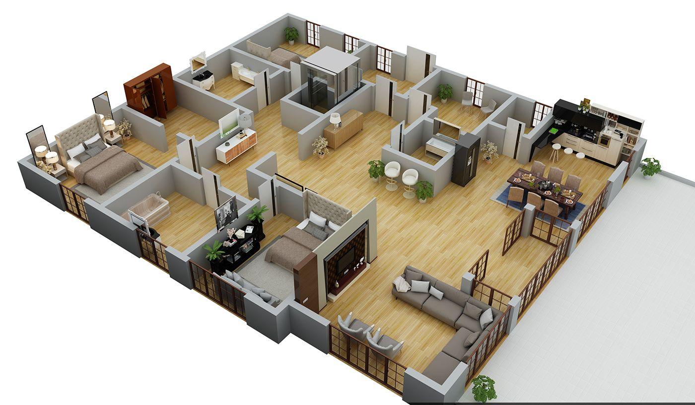 3D FLOOR PLAN RENDER IN 3D MAX WITH VRAY 3.46 on Behance