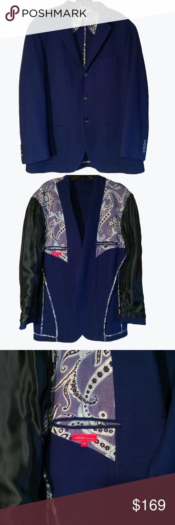 5fea57a2188 Altea Men s Blue Blazer Sport Coat US 46R  1325 Altea LUXURIOUS Blue 3  Button Sport Coat