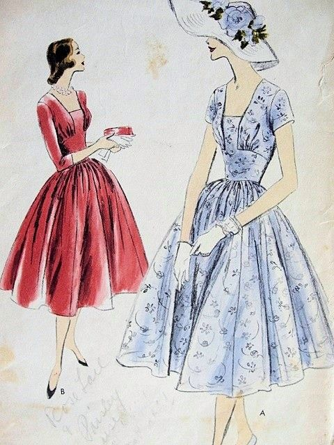 LOVELY 1950\'s Dinner Dress Pattern - VOGUE 8917 | Figurines ...