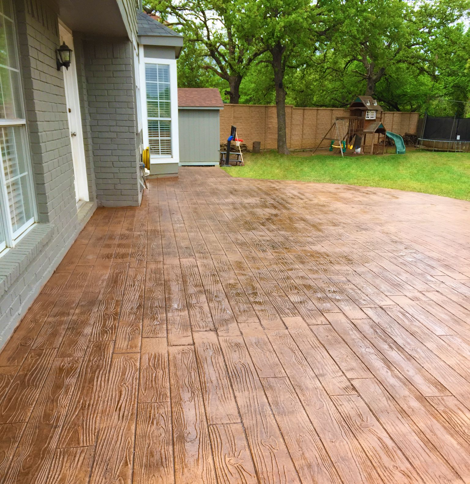 Stamped concrete designs are able to provide the same for Hardwood floor concrete stamp