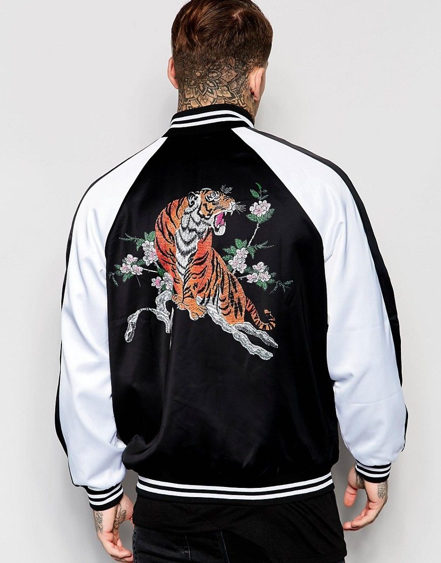 Bomber Back Souvenir Tiger In London Jaded Jacket With Print dCxBore