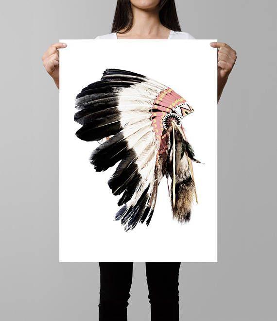 Tribal Print, Native American Headdress Art, Indian Headdress Print ...