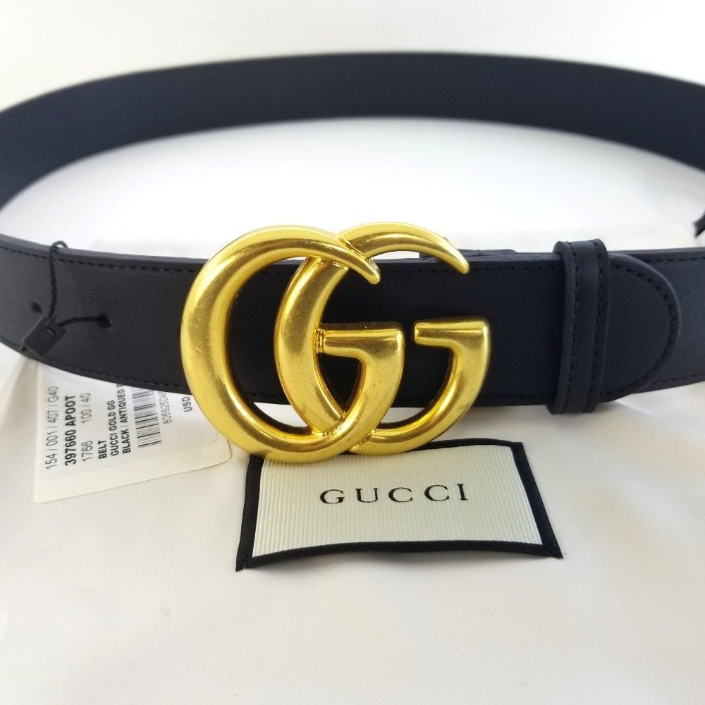 5cc31196a eBay #Sponsored Authentic Black Leather Gucci Belt w/Double G Buckle Gold  Size 100 / 40 - No Box