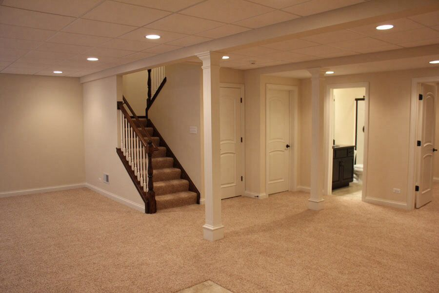 Basement Drk Hardware Painted Stairs Light Walls Hidden Poles