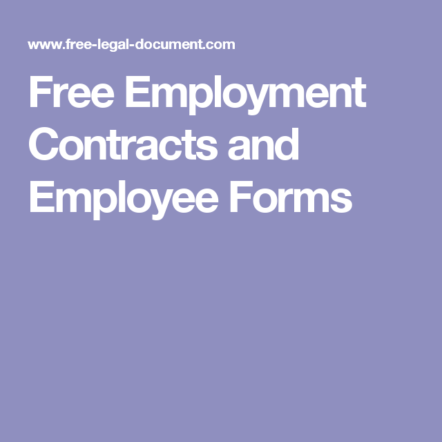 Free Employment Contracts And Employee Forms  Small Business