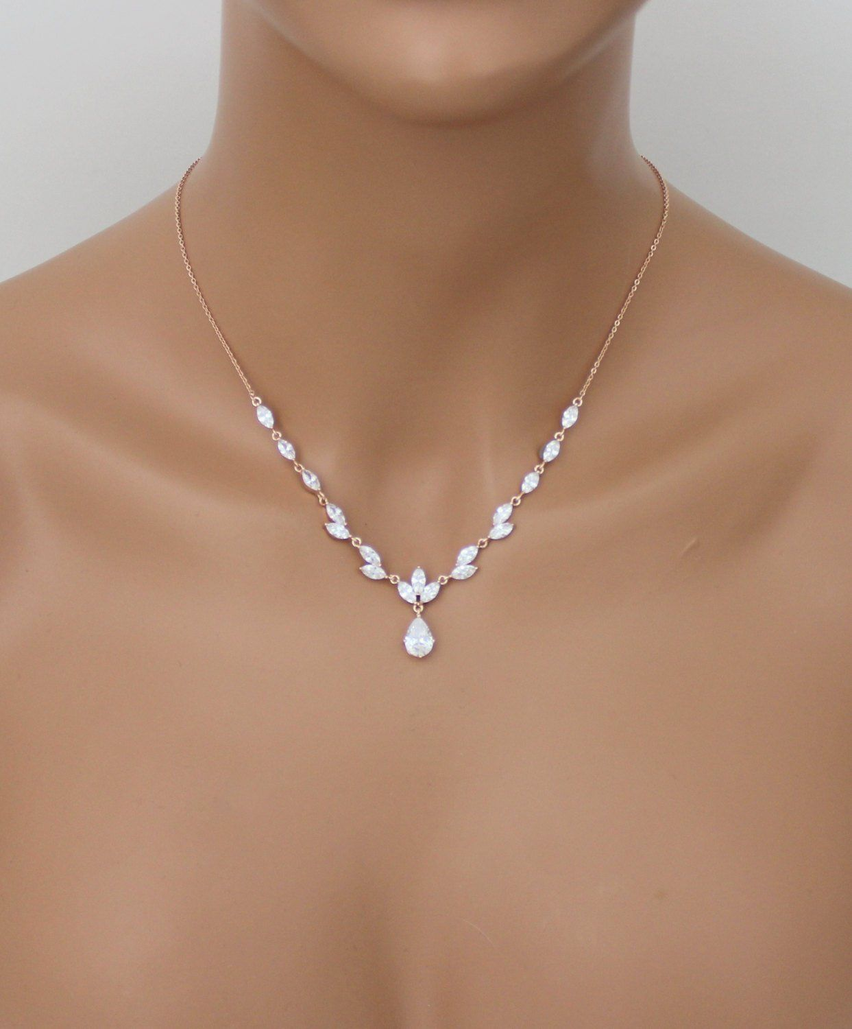 Rose Gold Necklace Set Bridal Jewelry