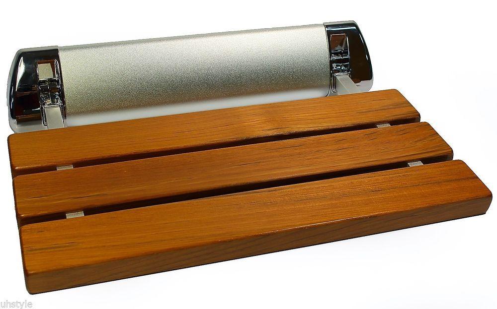 LADA LD3 Folding Wall-mount Fold-up Teak Wood Shower Seat Bench ...