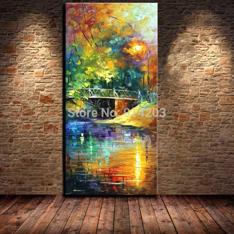 100 Hand Painted Beautiful View Bridge Landscape Knife Oil Painting For Living Room Art Work