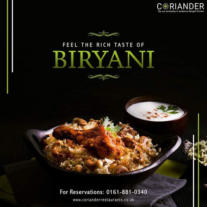 Coriander restaurants biryani food menu design food