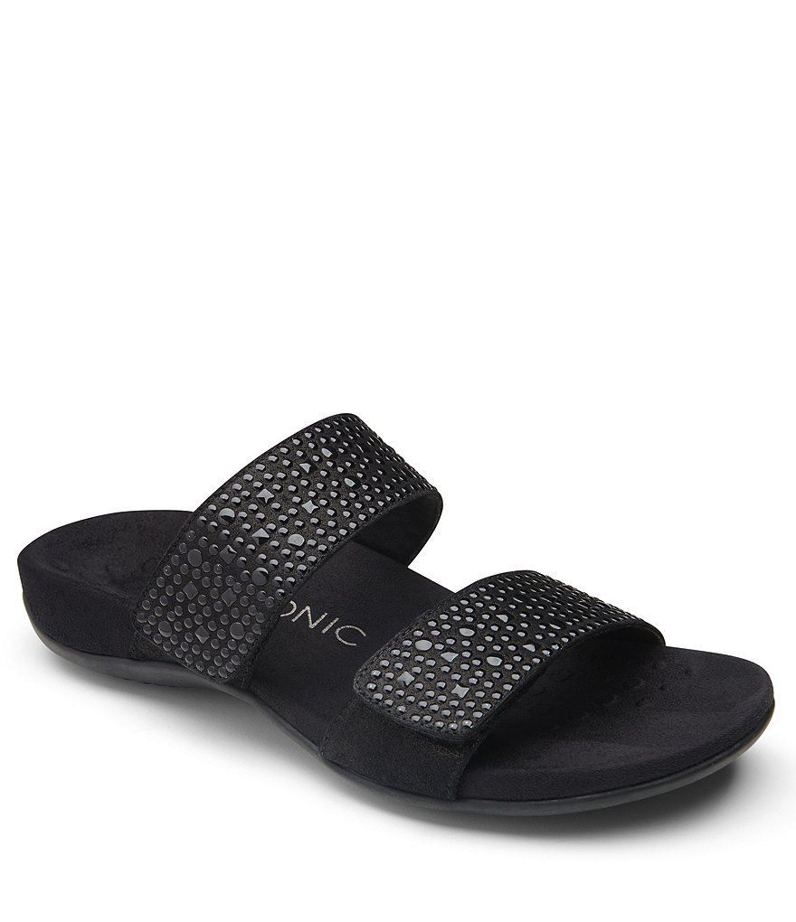Vionic Samoa Studded Leather & Textile Banded Slip-On Sandals RPPtJ1A7