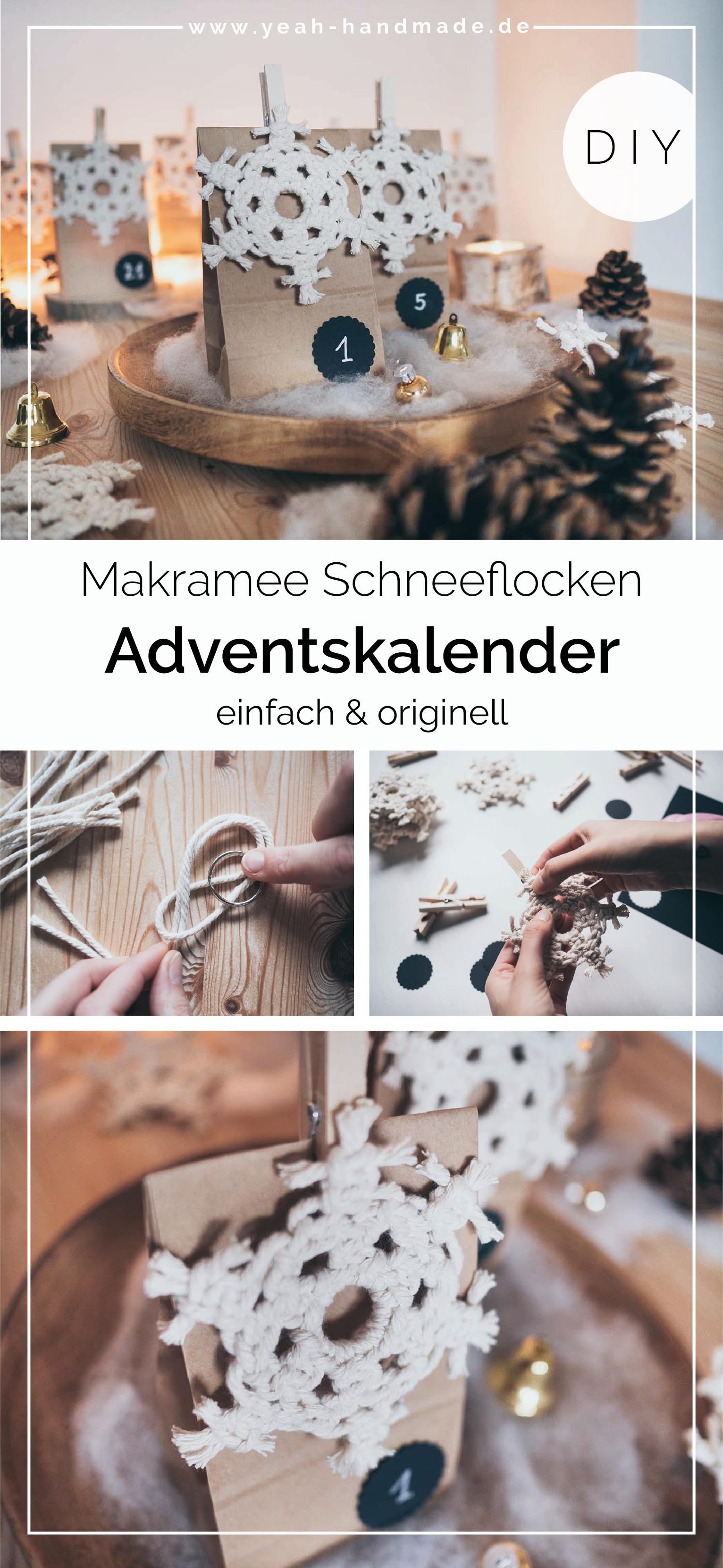 DIY Adventskalender basteln mit Makramee Schneeflocke zum