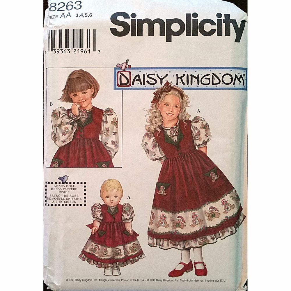 Childs Dress Pinafore Doll Clothes Simplicity 8263 Pattern 1998 Size 3-6 C1163 #Simplicity