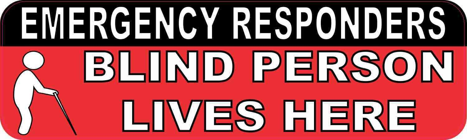10in x 3in Symbol Blind Person Lives Here Sticker Life
