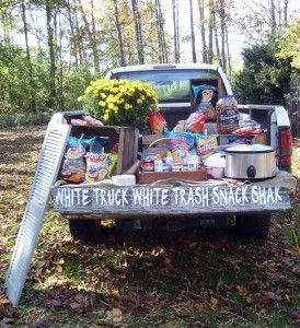 Cute redneck party ideas! I like this truck bed buffet for an outdoor event.