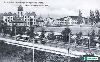 New Westminster BC postcard post card - Exhibition buildings in Queen
