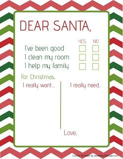 Free Dear Santa Letter Printable For The Younger Kids Who CanT