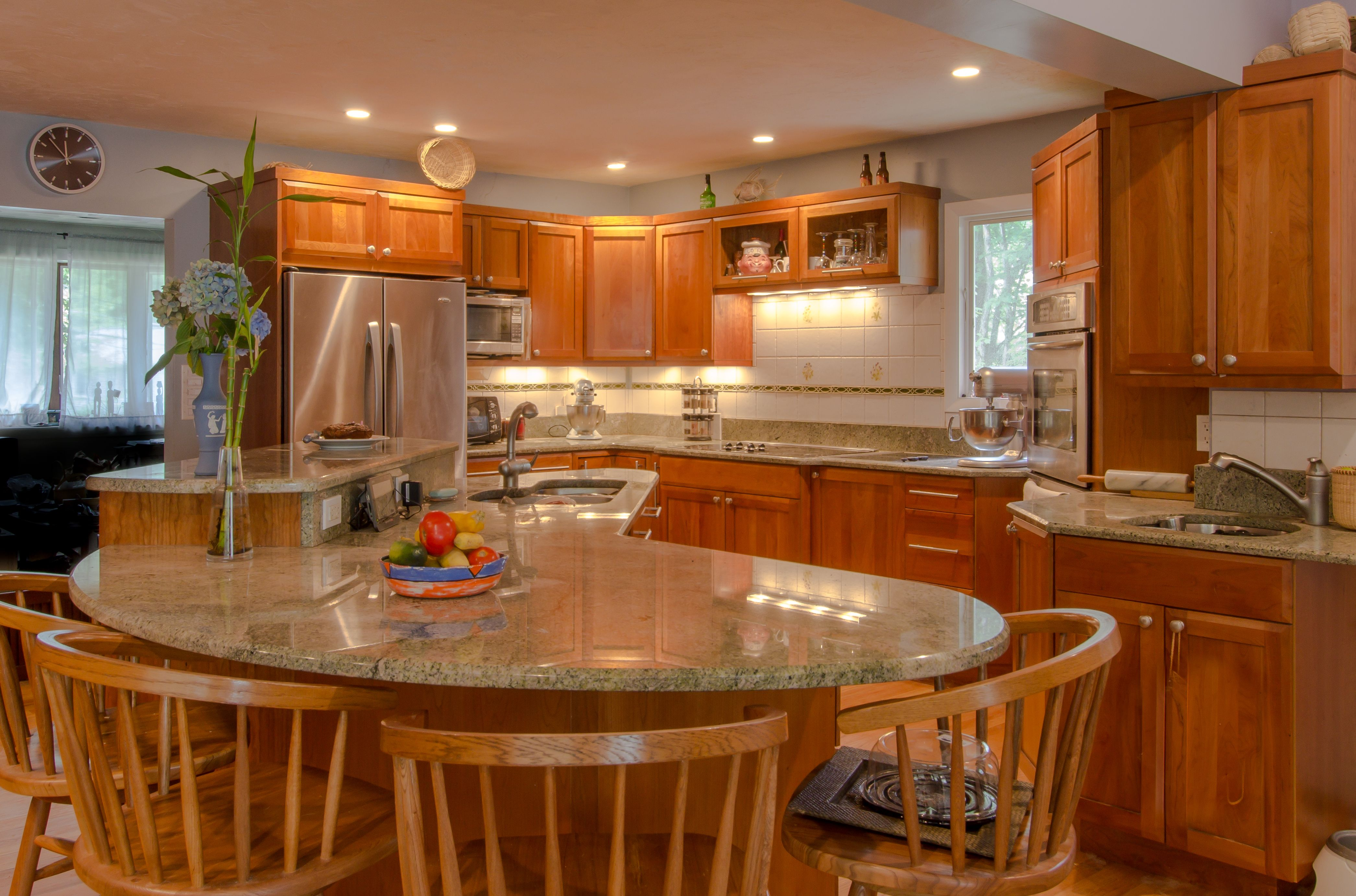 Cherry Wood Kitchens Cherry Wood Cabinetry Granite Countertops Glass Cabinets Large Island With Seating For Cherry Wood Kitchens Kitchen Redo Wood Kitchen