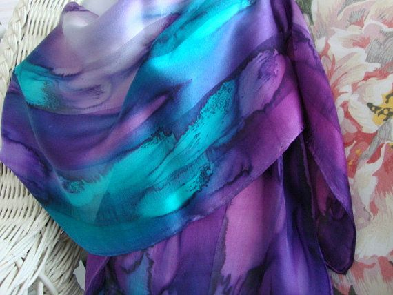Hand Dyed Northern Lights Hand Dyed Silk Scarf by MommaGoddess, $30.00