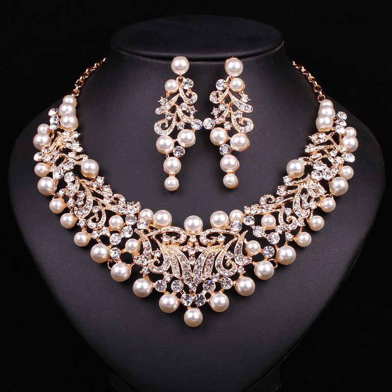 Fashion Pearl Statement Necklace Earrings Bridal Jewelry Sets Bride Gold Plated Jewellery Wedding Prom Dress Accessories Women Item Specifics Type