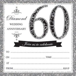 60th Diamond Anniversary Invitations Envelopes 10pk Anniversary