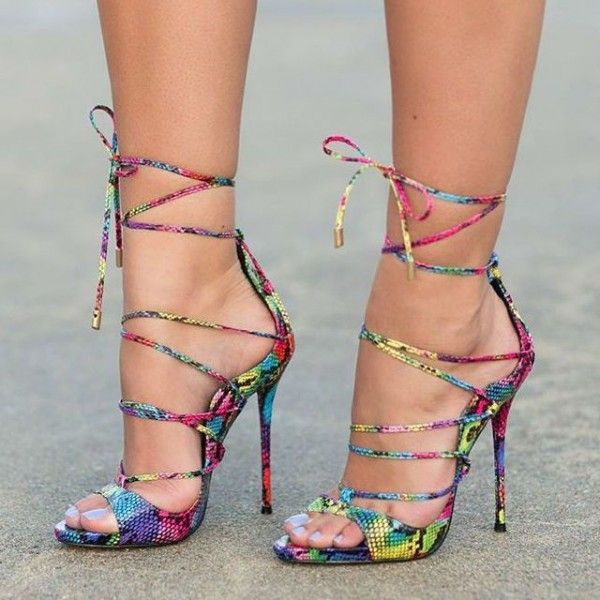 Women's Colorful Python Strappy Heels Stiletto Heels
