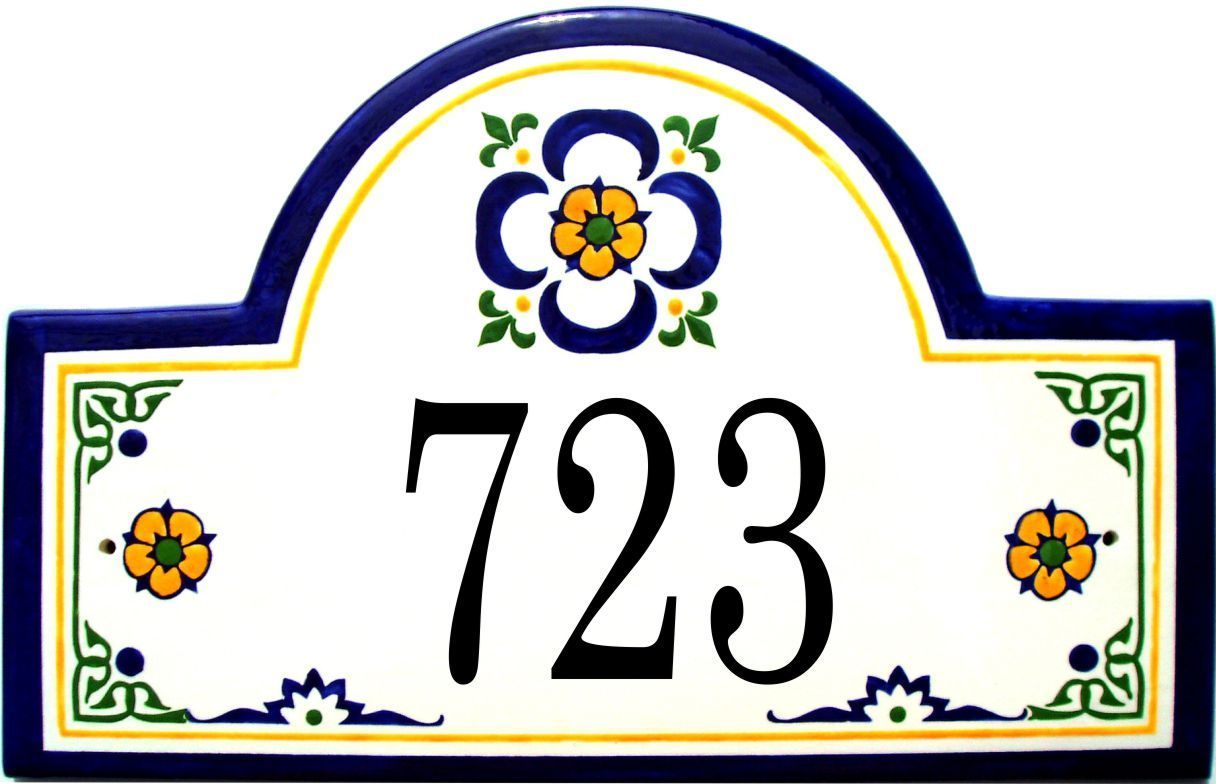 Mexican yellow flower address plaques mexicans number and our ceramic address plaques and house number signs come in unique designs and beautiful colors see our mexican yellow flower plaque or our colorful sea dailygadgetfo Choice Image