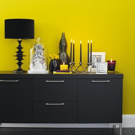 Yellow Dining Room With Black Sideboard  Sunshine Yellow Colour Fascinating Grey And Yellow Dining Room Inspiration