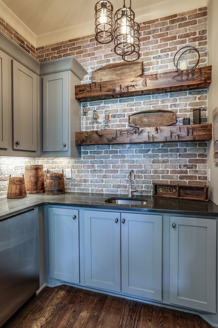 Perfection But With White Cabinets Farmhouse Kitchen Design Rustic Kitchen Backsplash Accent Wall In Kitchen