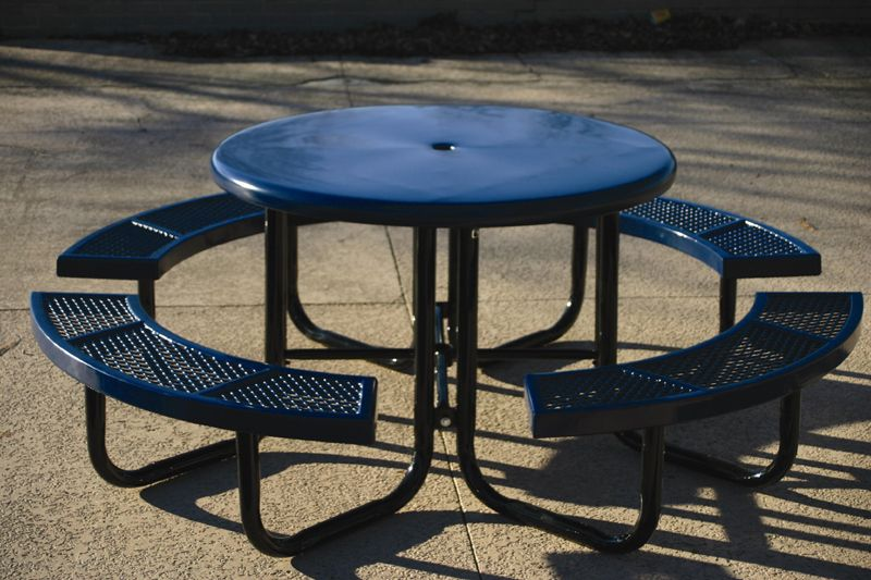 Round Picnic Table With Umbrella Hole And Four Seats Great For