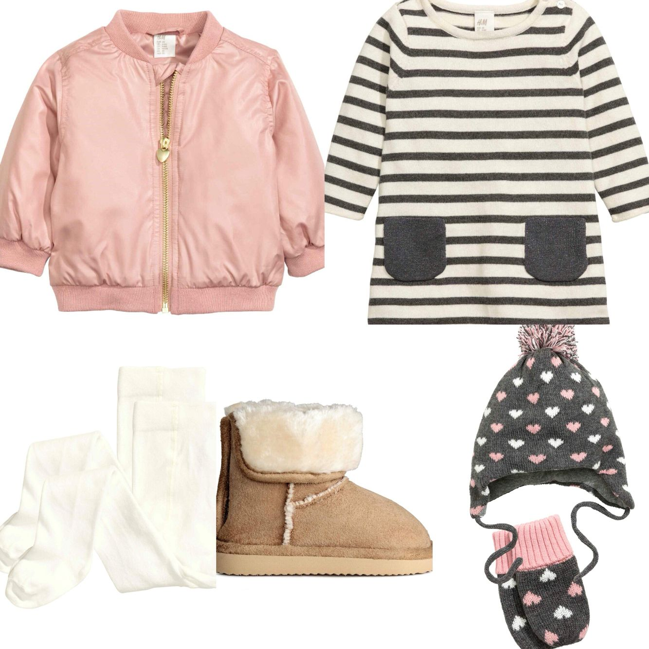 fcc542b56 Baby girl autumn outfit, dress, ugg boots, pink bomber jacket ...