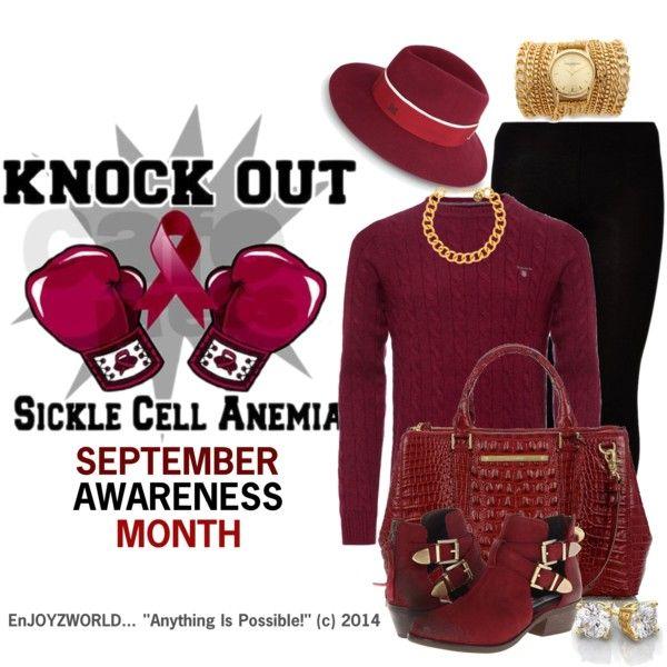 """""""SICKLE CELL AWARENESS"""" (OUTFIT ONLY) Contest: """"Knock It Out"""" by enjoyzworld on Polyvore"""