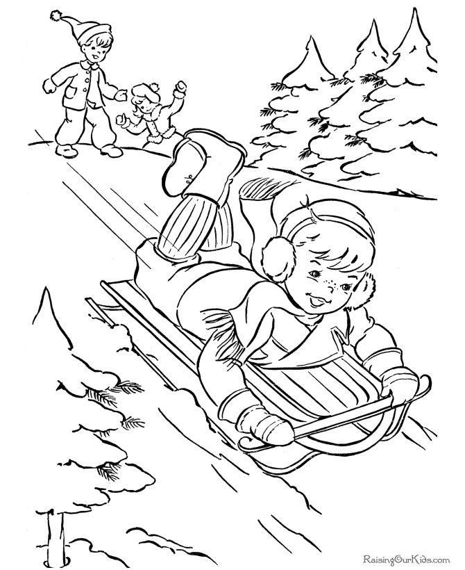 Winter coloring page   Zimné športy   Pinterest